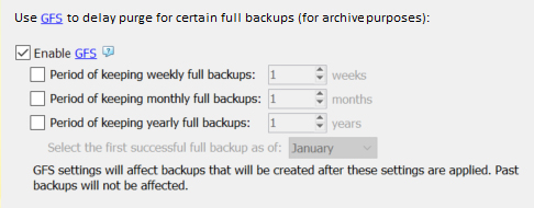 CloudBerry Backup: Grandfather-Father-Son Retention Policy