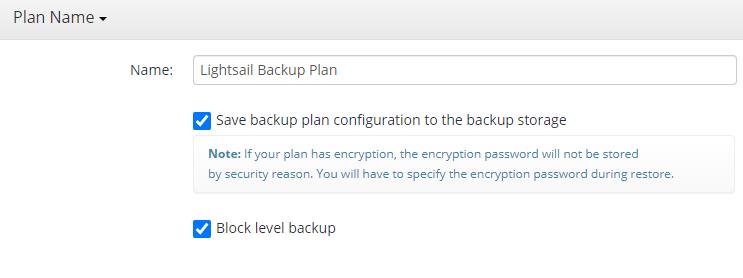 MSP360 Managed Backup: Naming the Plan