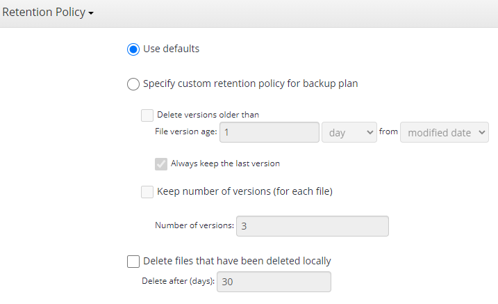 MSP360 Managed Backup: Retention Policy