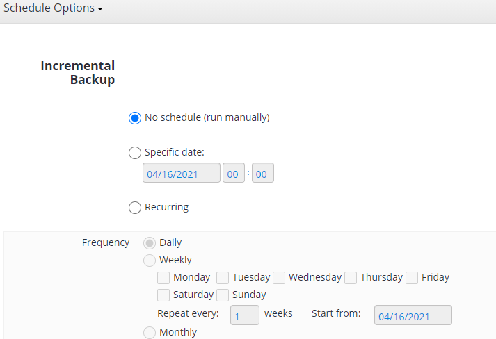 MSP360 Managed Backup: Schedule Options