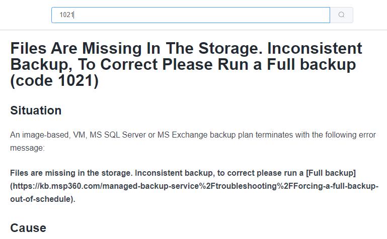 MSP360 Managed Backup: Issue Solving Description