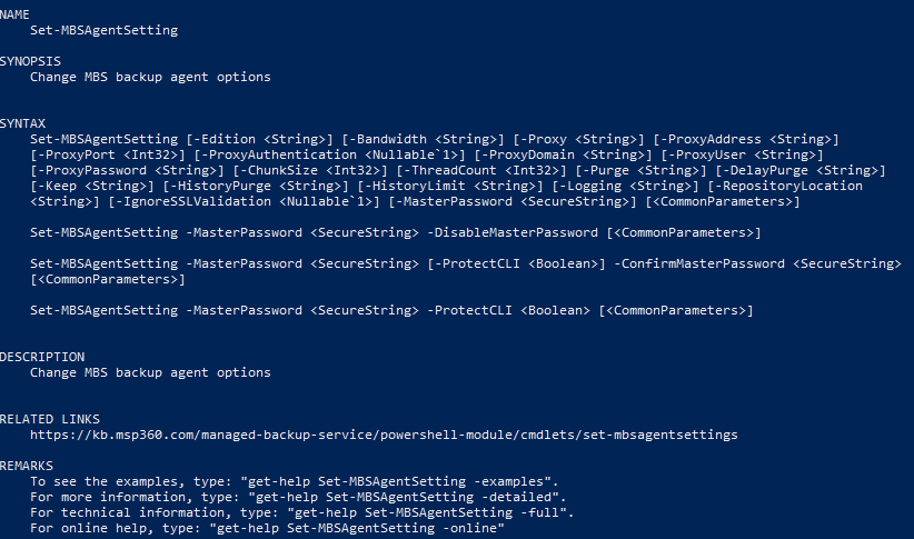 The Get-Help Cmdlet in MSP360 PowerShell Module