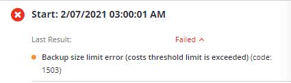 MSP360 Managed Backup: Backup Size Limit Error