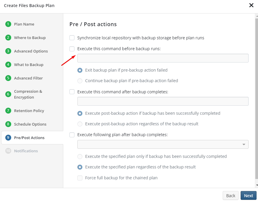 MSP360 Managed Backup: Pre-/Post-Actions